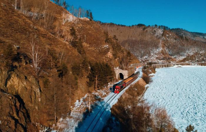 The circum baikal railway winter train