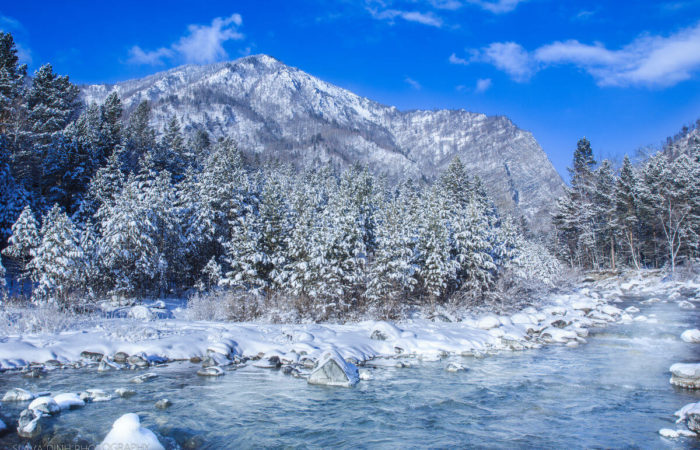 Arshan winter mountains cold river
