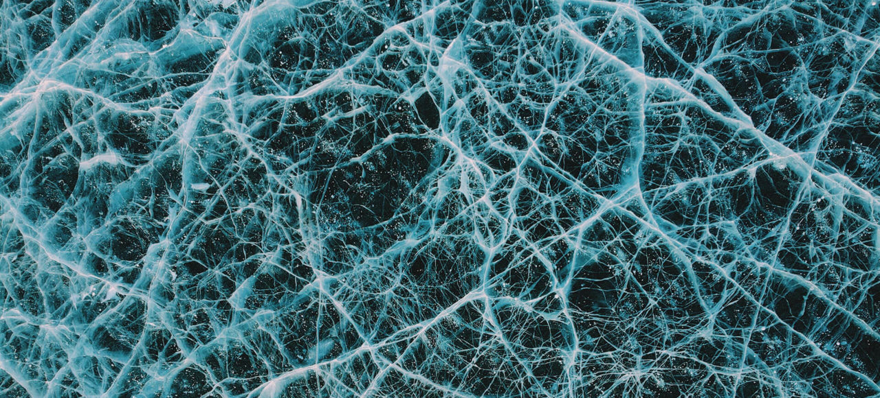 Cracked turquoise Baikal ice