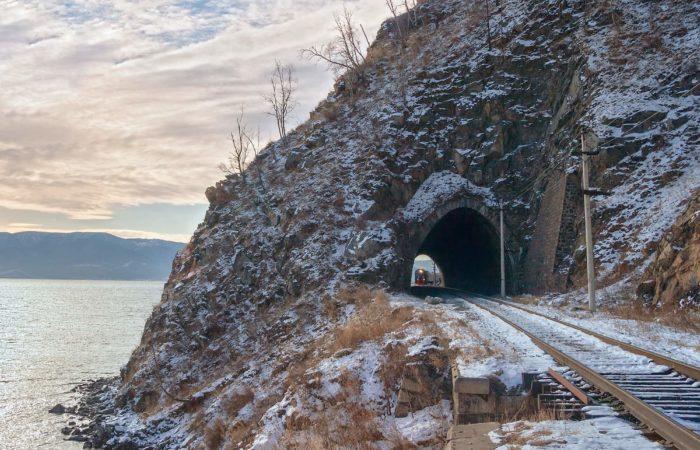 Winter Circrum Baikal Railway tunnel