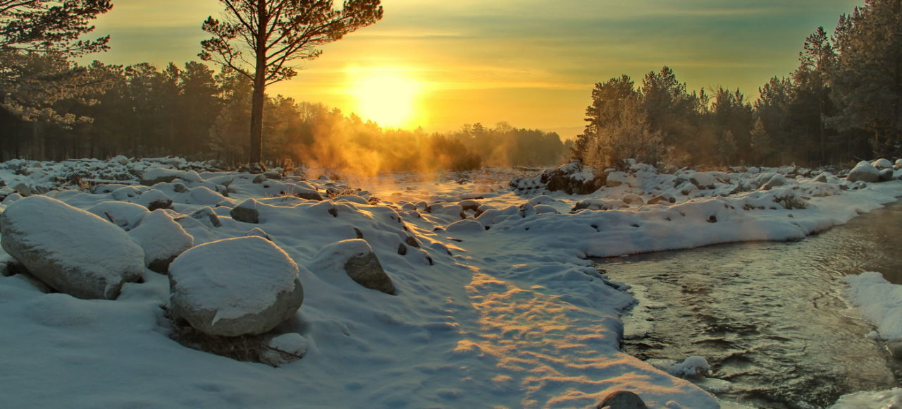 Beautiful Winter Arshan sunset river pine trees