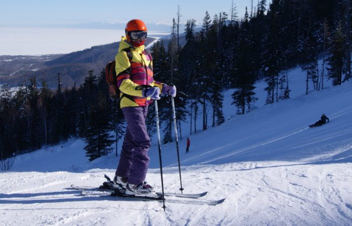 Girl skiing in Baikalsk