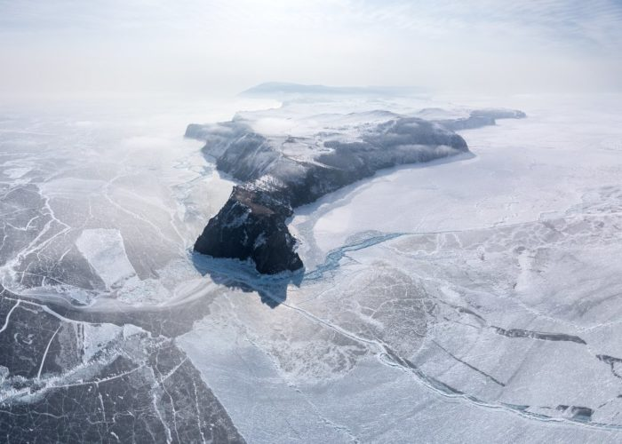 Winter Olkhon island copter view