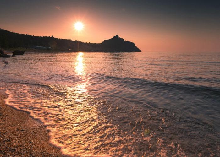 Peschanka Bay coast sunrise summer