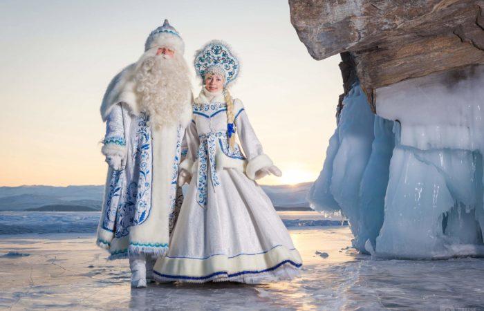 Ded moroz and Snegurochka New year on Baikal