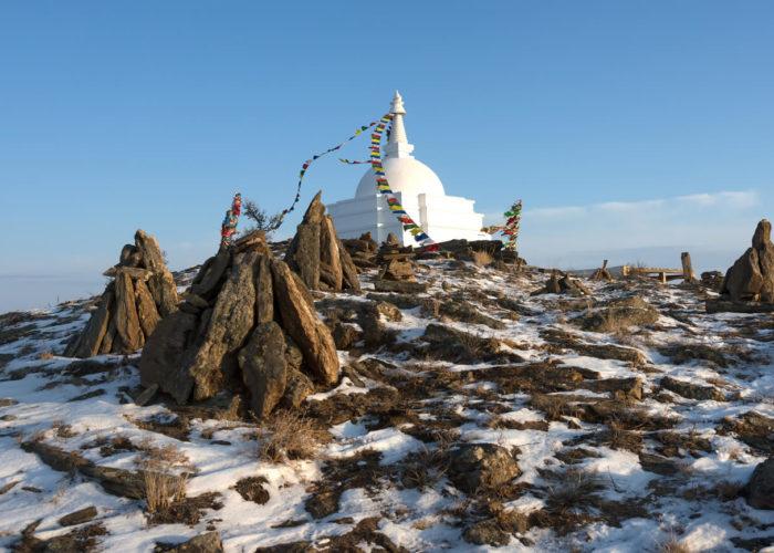 Island ogoy shaman stupa winter