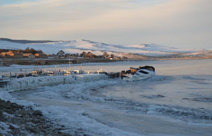 Khujir lake Baikal frozen broken ship