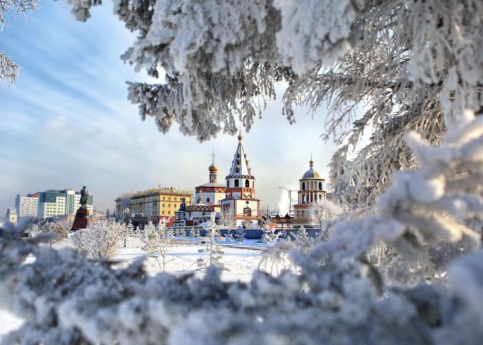 Winter Irkutsk landscape on Sobor Bogoyavlensky