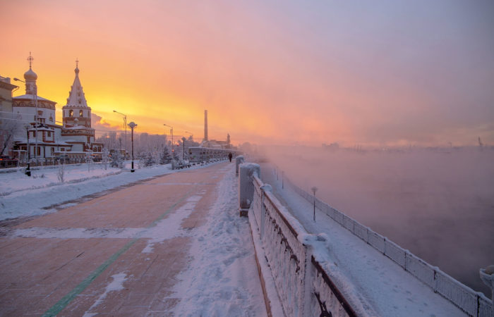Winter Irkutsk sunset foggy coast