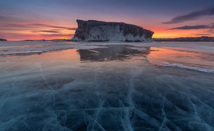 The thaw of Bajkal Lake Siberia Russia